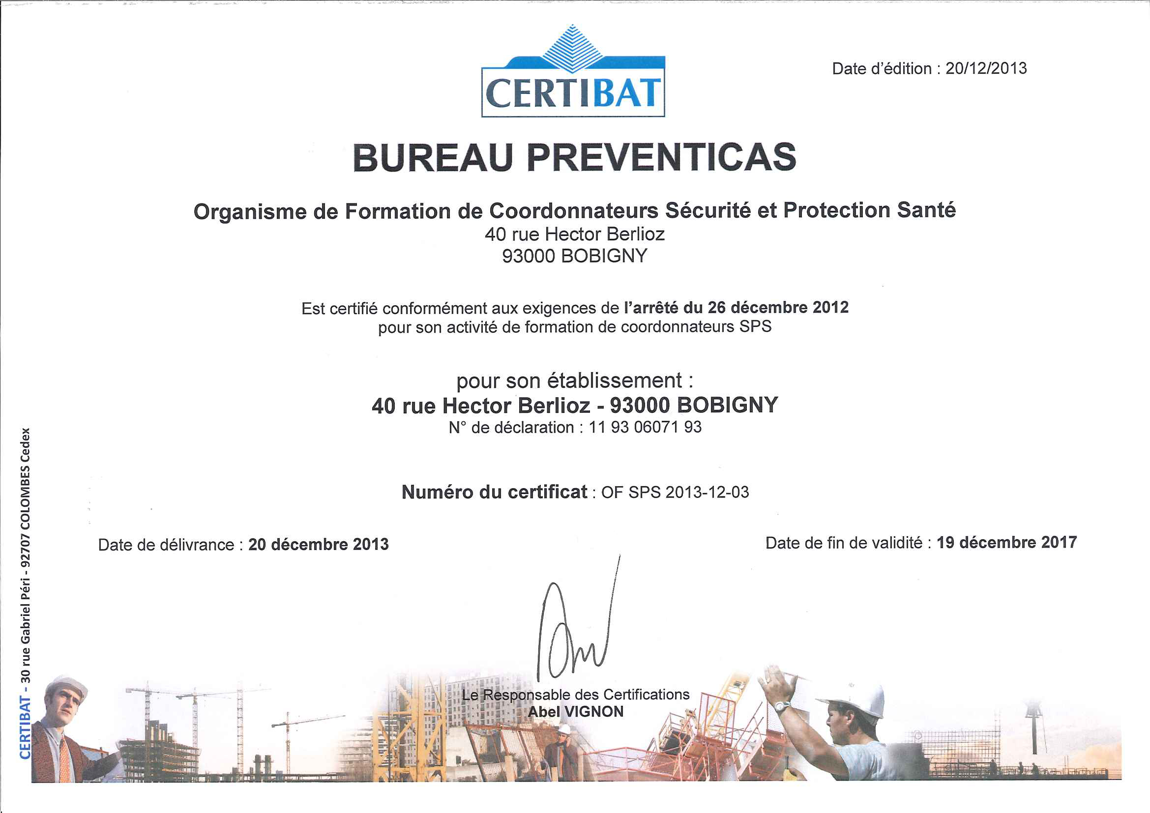 Certifications BureauPreventicas